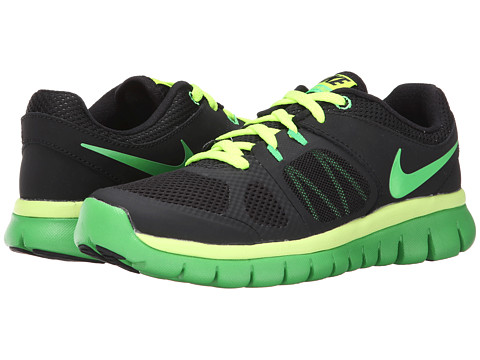 Nike Kids - Flex 2014 Run (Big Kid) (Black/Volt/Light Green Spark) Boys Shoes