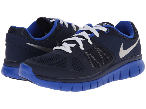 Nike Kids - Flex 2014 Run (Big Kid) (Midnight Navy/Lyon Blue/White/Metallic Silver) Boys Shoes