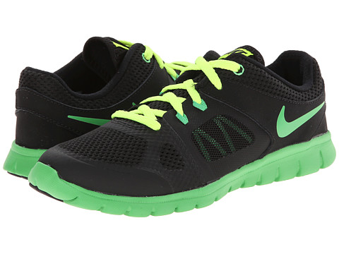 Nike Kids - Flex 2014 Run (Little Kid) (Black/Volt/Light Green Spark) Boys Shoes