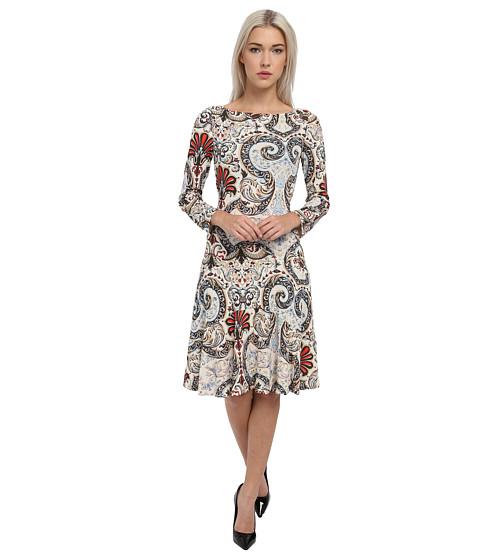 Just Cavalli - Long Sleeve Printed Dress (Light Cyan Variant) Women