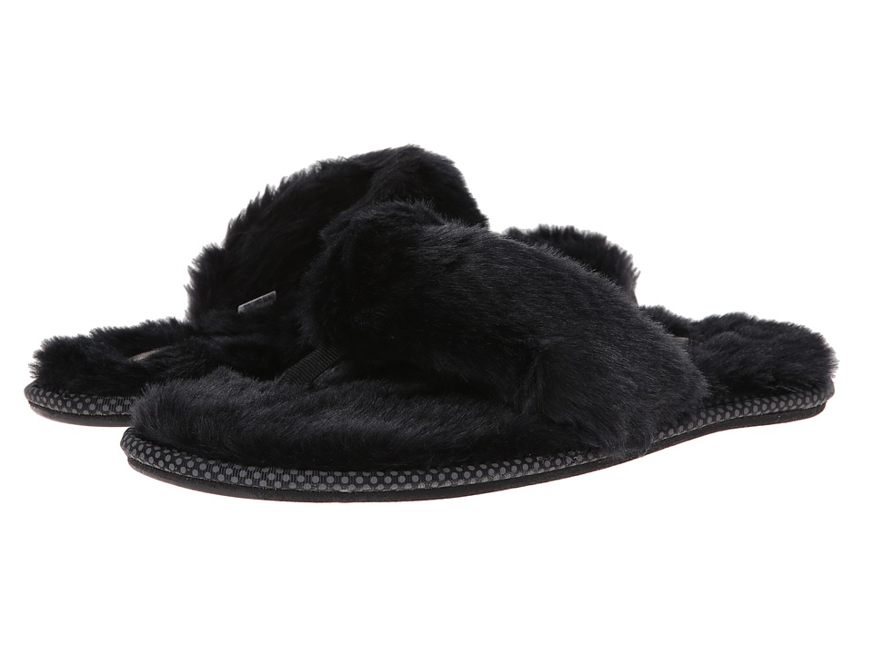 BOBS from SKECHERS - Faux Fur Flip Flop Slipper (Black/Black) Women's Slippers