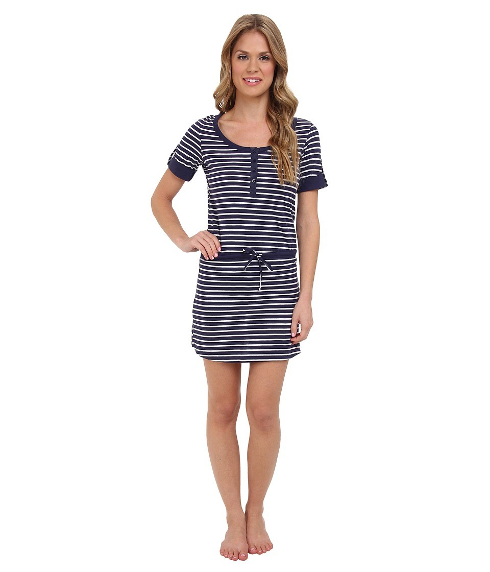 BOTTOMS O.U.T GAL - Henley Stripe Nightie (Navy) Women's Pajama