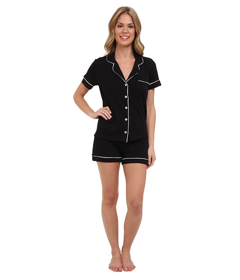 BOTTOMS O.U.T GAL - Knit Short-Sleeve PJ Set w/ Shorts (Black) Women