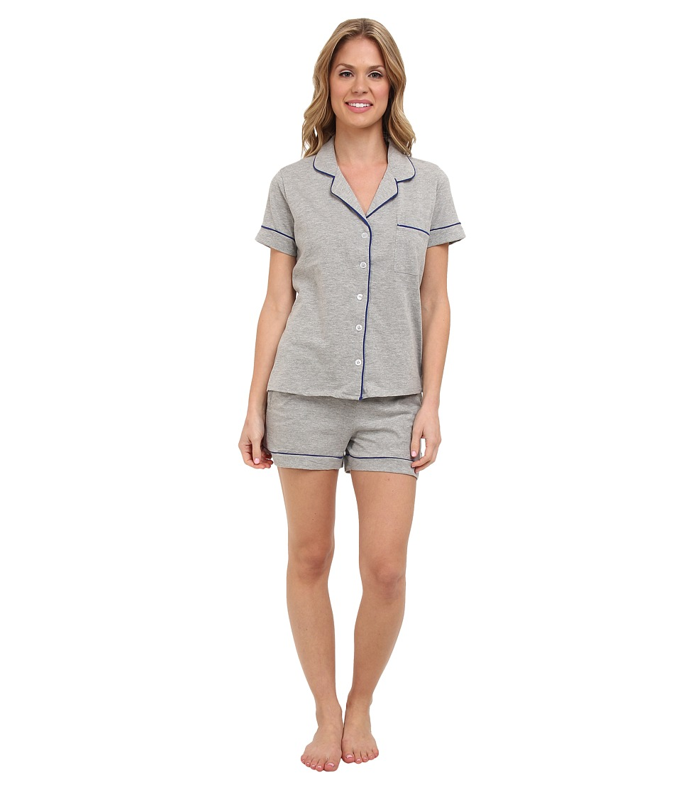 BOTTOMS O.U.T GAL - Knit Short-Sleeve PJ Set w/ Shorts (Light Heather Grey) Women