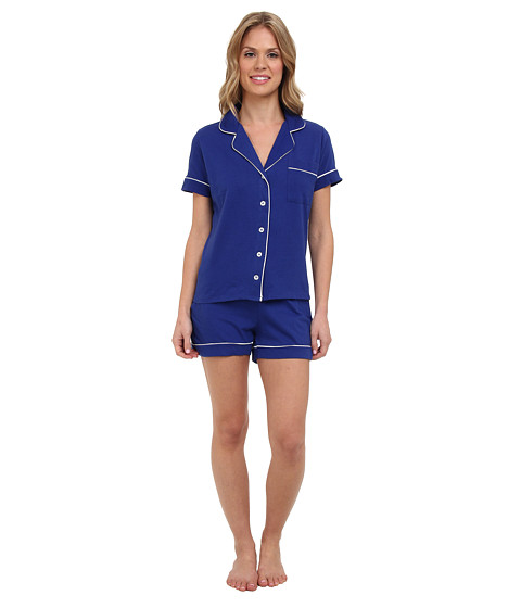 BOTTOMS O.U.T GAL - Knit Short-Sleeve PJ Set w/ Shorts (Navy) Women's Pajama Sets