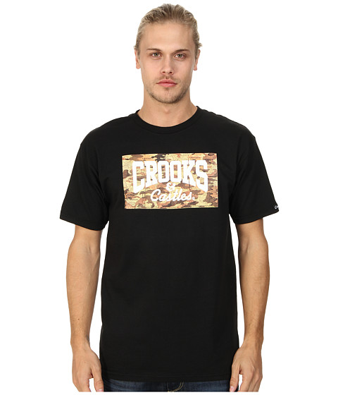 Crooks & Castles - Knit Crew T-Shirt - Core Map (Black) Men