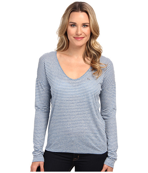 Lacoste - Long Sleeve Chine Stripe V-Neck Tee Shirt (Strait Chine/Flour) Women