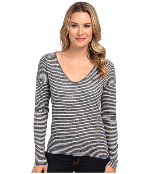 Lacoste - Long Sleeve Chine Stripe V-Neck Tee Shirt (Dark Grey Jaspe/Flour) Women