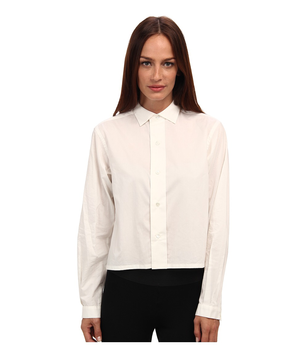 adidas Y-3 by Yohji Yamamoto - Cropped Shirt (Core White) Women's Long Sleeve Button Up