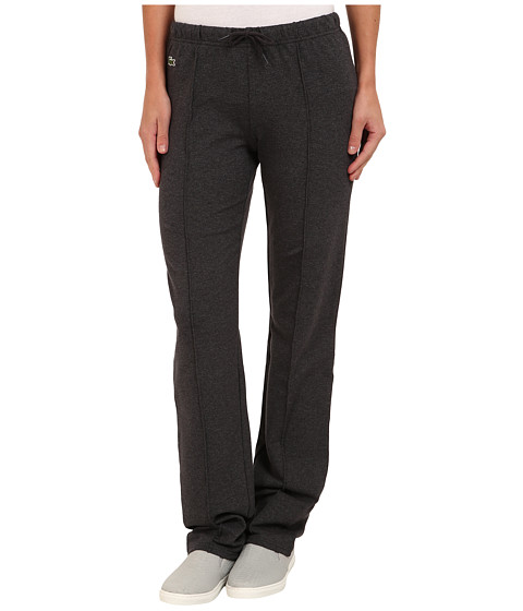 Lacoste - Drawstring Waist Sweatpant (Dark Grey Jaspe/Navy Blue) Women's Casual Pants