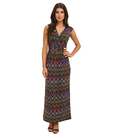 Ellen Tracy - Printed Maxi Surplice Dress (Black Multi) Women