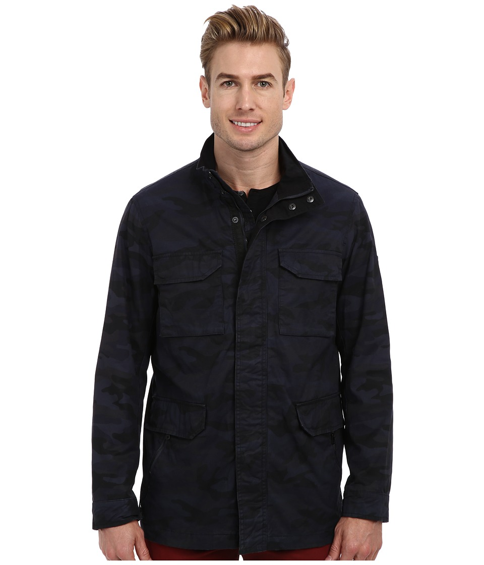 DKNY Jeans - Camo Printed Coated Twill Jacket (Blue Camo) Men