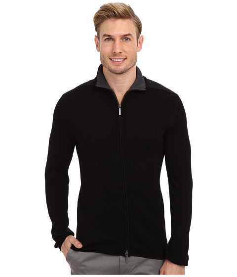 DKNY Jeans - L/S Rib Woven Full-Zip Mock Neck Sweater (Black) Men's Sweater