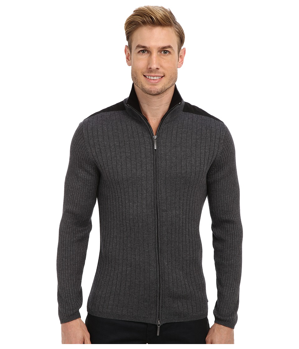 DKNY Jeans - L/S Rib Woven Full-Zip Mock Neck Sweater (Dark Heather Grey) Men's Sweater