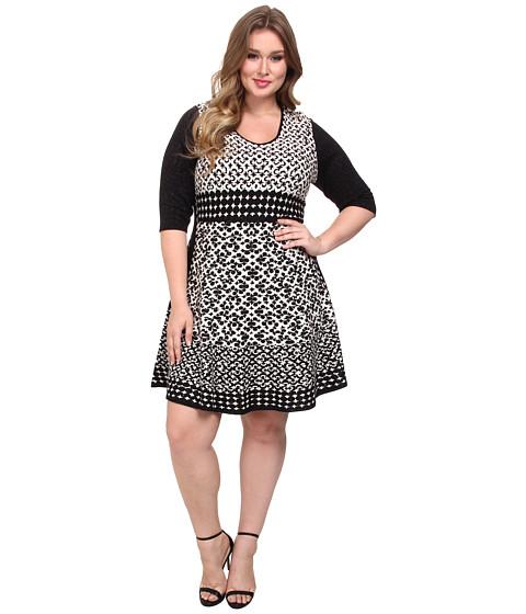 NIC+ZOE - Plus Size Half Moon Twirl Dress (Multi) Women
