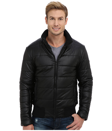 DKNY Jeans - Faux Leather Multi-Zip Bomber Jacket (Black) Men