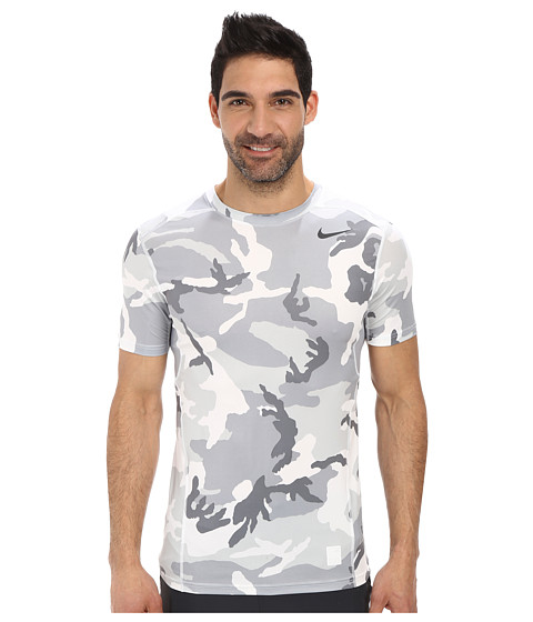 Nike - Pro Combat Hypercool Fitted Woodland S/S (White/Wolf Grey/White/Anthracite) Men's T Shirt
