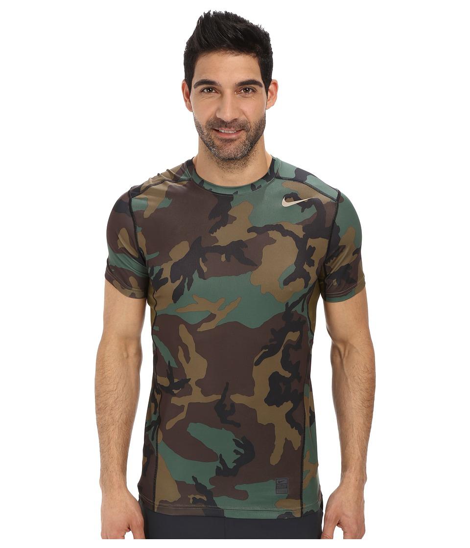 Nike - Pro Combat Hypercool Fitted Woodland S/S (Iguana/Iguana/Black/Bamboo) Men