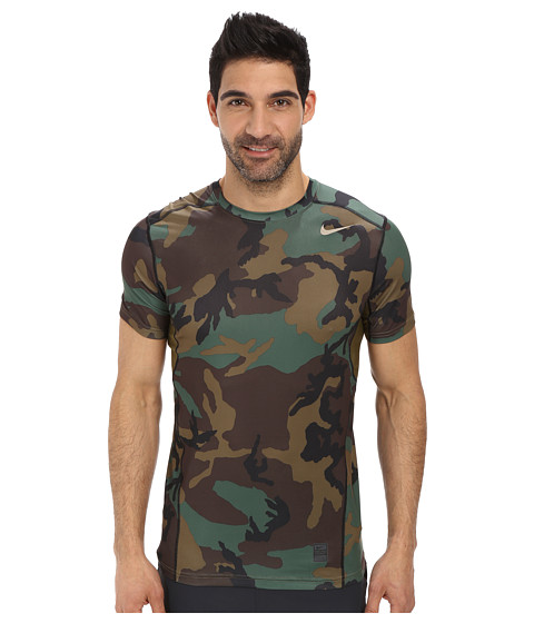 Nike - Pro Combat Hypercool Fitted Woodland S/S (Iguana/Iguana/Black/Bamboo) Men's T Shirt