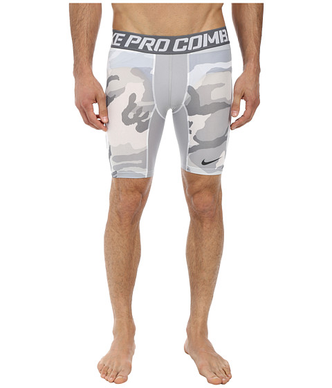 Nike - Pro Combat 6 Hypercool Compression Woodland Short (White/Cool Grey/White/Anthracite) Men