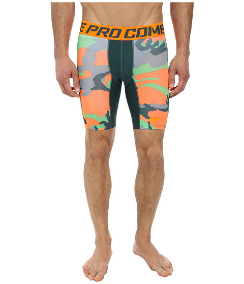 Nike - Pro Combat 6 Hypercool Compression Woodland Short (Dark Emerald/Total Orange/Dark Emerald/Total Orange) Men's Shorts