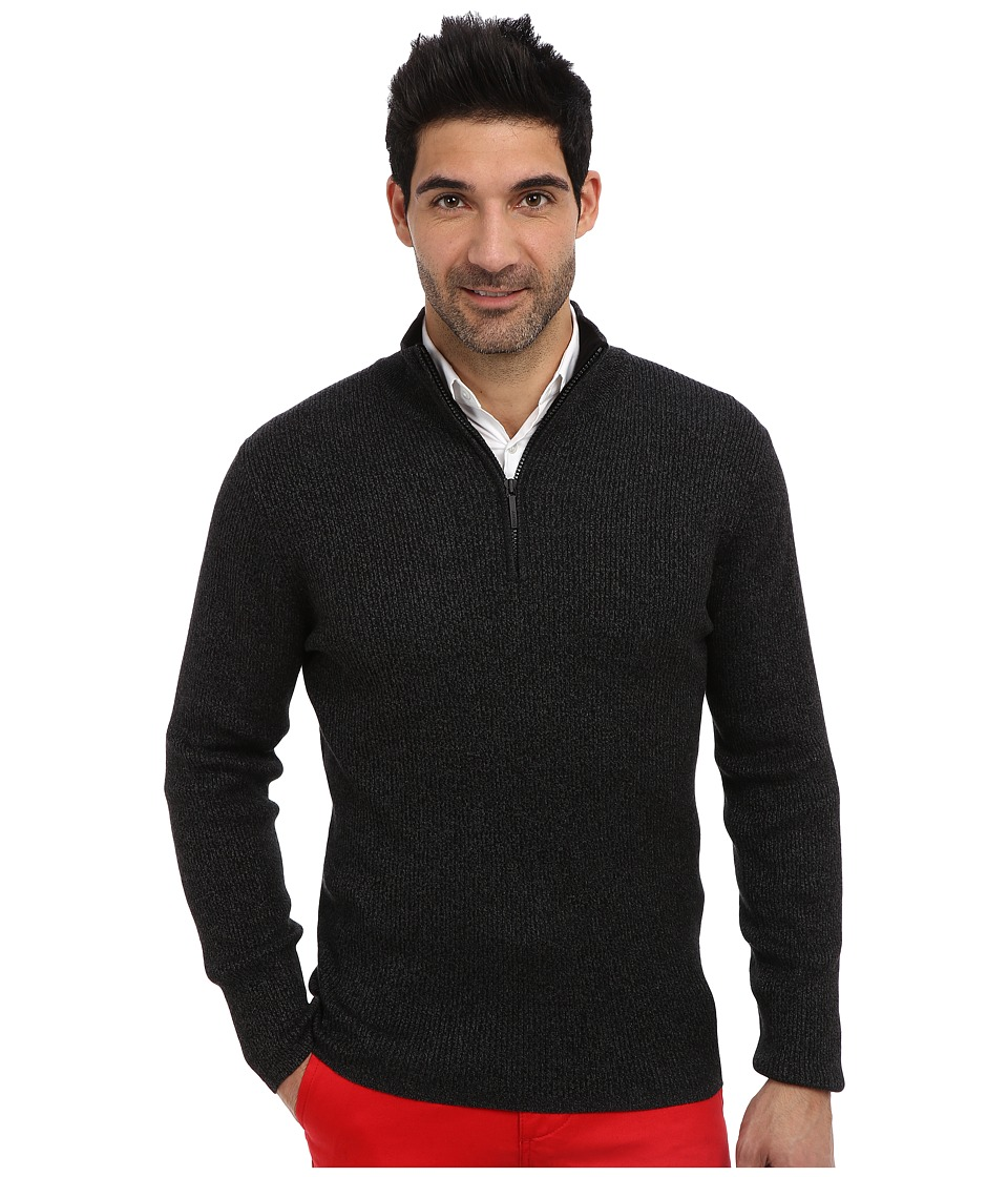 DKNY Jeans - L/S 1/4 Zip Rib Marl Mock Neck Sweater (Dark Heather Grey) Men's Sweater