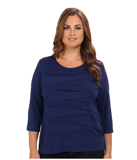Vince Camuto Plus - Plus Size Three-Quarter Sleeve Crewneck Zig Zag Top (Twilight) Women's T Shirt