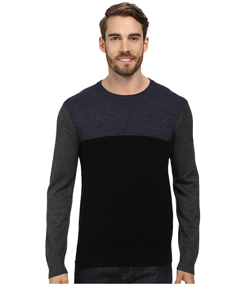 DKNY Jeans - L/S Colorblock Marl Crewneck Sweater (Federal Blue) Men