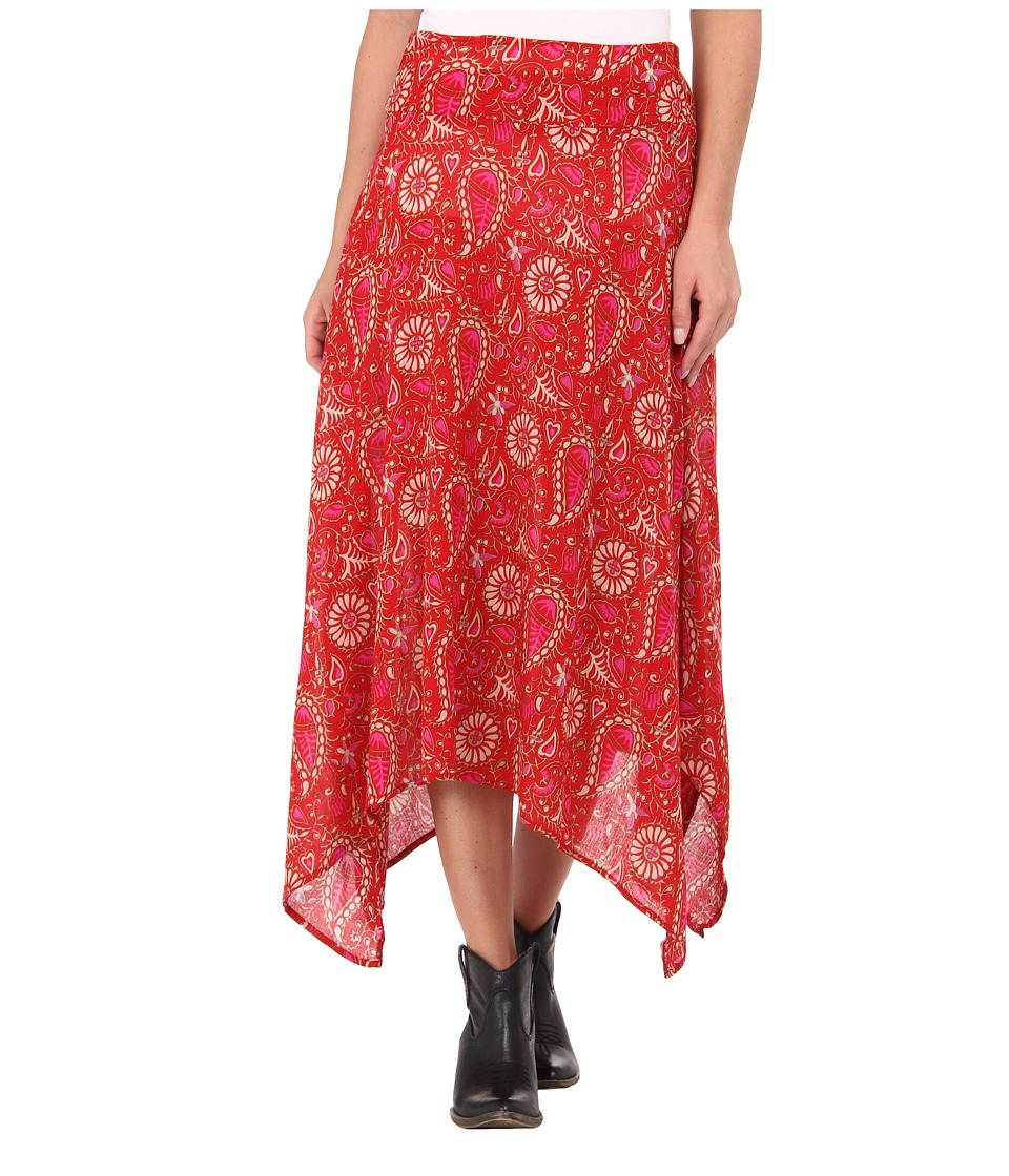 Roper - 9230 Folk Floral Printed Challis Skirt (Red) Women