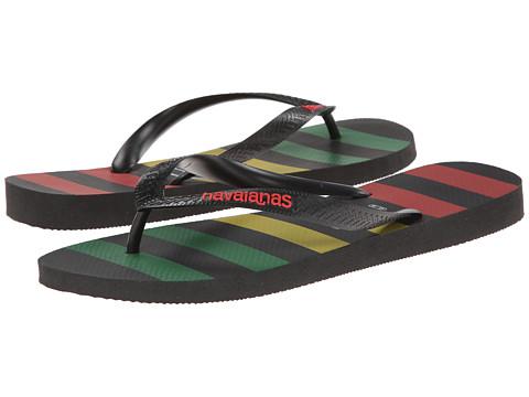 Havaianas - Top Stripes Logo Sandal (Black/Red) Men
