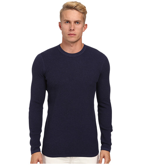 Vince - L/S Crewneck w/ Elbow Patch (Heather Imperial Blue/Coastal) Men's Long Sleeve Pullover