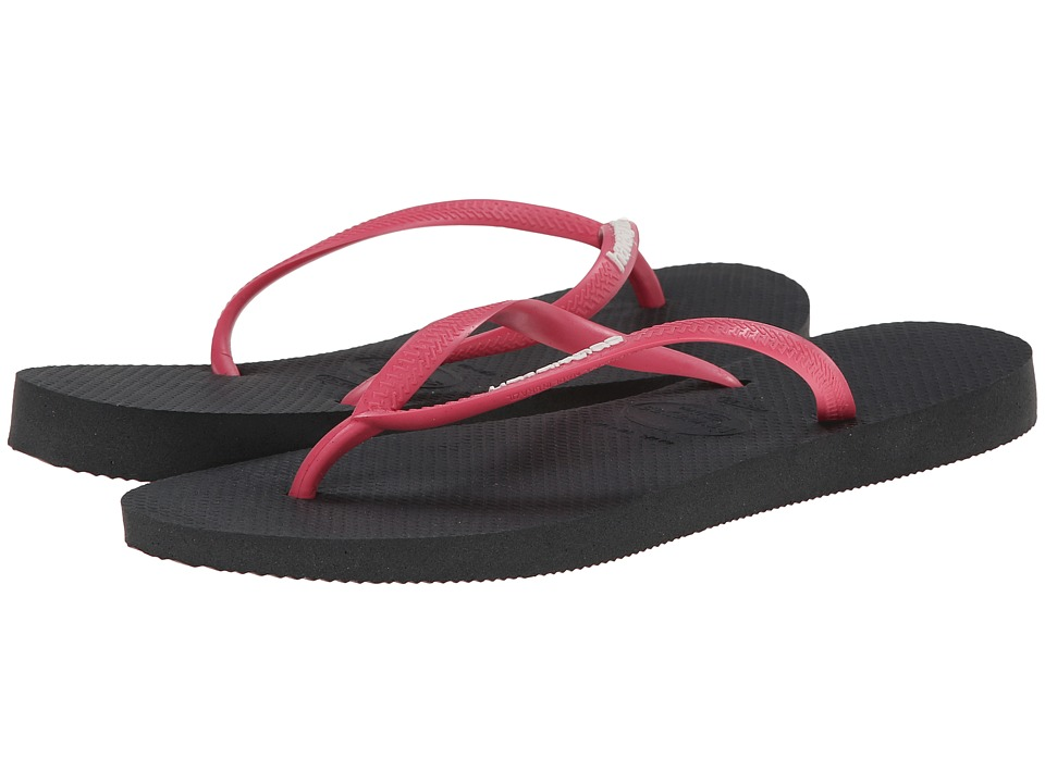 Havaianas - Slim Logo Flip Flops (Dark Grey) Women
