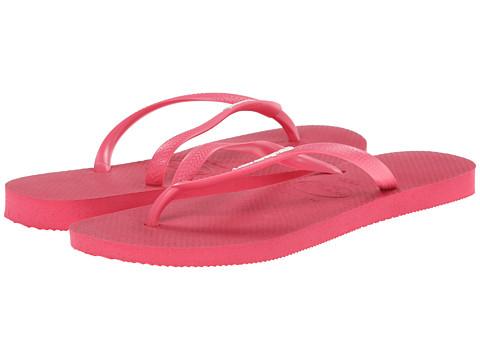 Havaianas - Slim Logo Flip Flops (Neon Pink) Women's Slippers