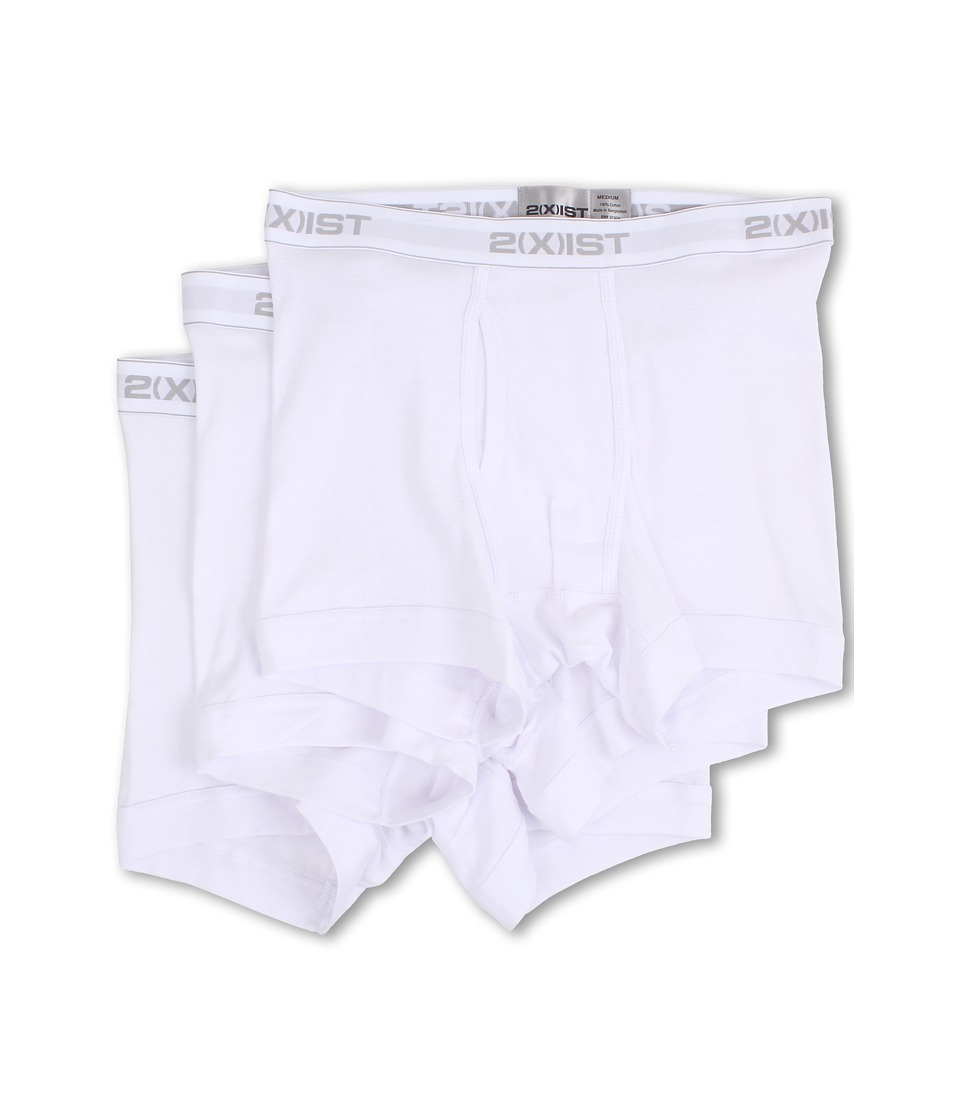 2(X)IST - 3-Pack ESSENTIAL Boxer Briefs (White) Men's Underwear
