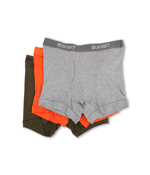 2(X)IST - 3-Pack ESSENTIAL Boxer Briefs (Heather Grey/Orange/Army) Men's Underwear