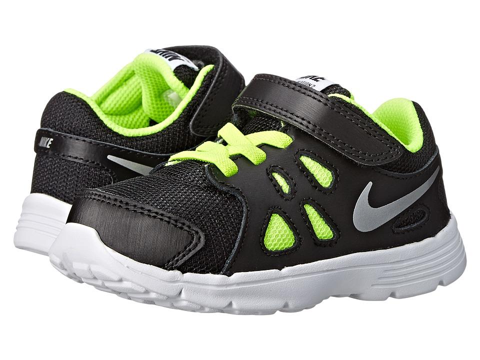Nike Kids - Revolution 2 (Infant/Toddler) (Black/Metallic Silver/White/Volt) Boys Shoes