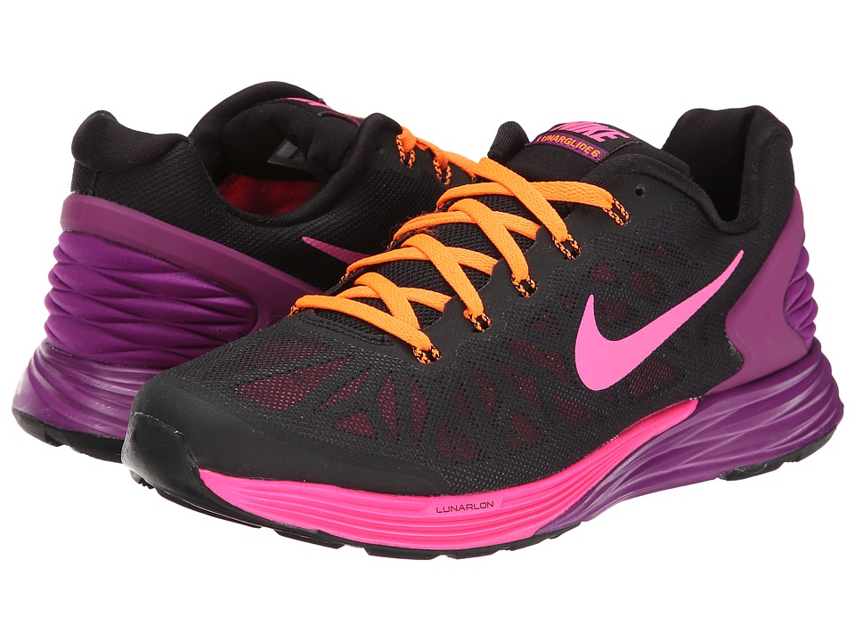 Nike Kids - Lunarglide 6 (Big Kid) (Black/Bold Berry/Total Orange/Pink Pow) Girls Shoes