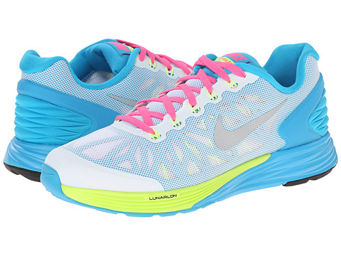 Nike Kids - Lunarglide 6 (Big Kid) (White/Volt/Pink Pow/Metallic Silver) Girls Shoes