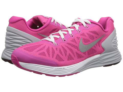 Nike Kids - Lunarglide 6 (Big Kid) (Hot Pink/White/Wolf Grey/Metallic Silver) Girls Shoes
