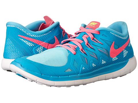 Nike Kids - Free 5.0 (Big Kid) (Blue Lagoon/White/Volt/Pink Pow) Girls Shoes