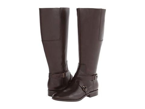 Nine West - Blogger Wide Calf (Dark Brown Leather) Women's Zip Boots