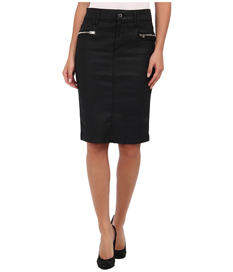 7 For All Mankind - Luxe Jeather Fashion High Waist Pencil Skirt w/ Zips in Black Jeather (Black Jeather) Women's Skirt
