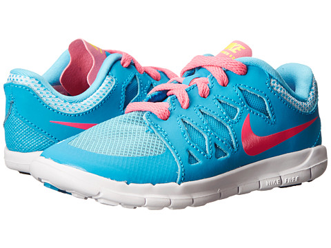 Nike Kids - Free 5 (Little Kid) (Blue Lagoon/White/Volt/Pink Pow) Girls Shoes