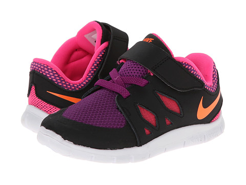 Nike Kids - Free 5 (Infant/Toddler) (Black/Pink Pow/Bold Berry/Total Orange) Girls Shoes