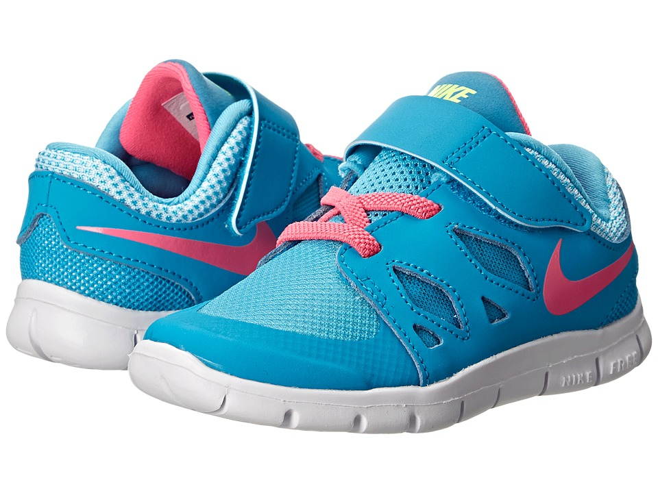 Nike Kids - Free 5 (Infant/Toddler) (Blue Lagoon/White/Volt/Pink Pow) Girls Shoes