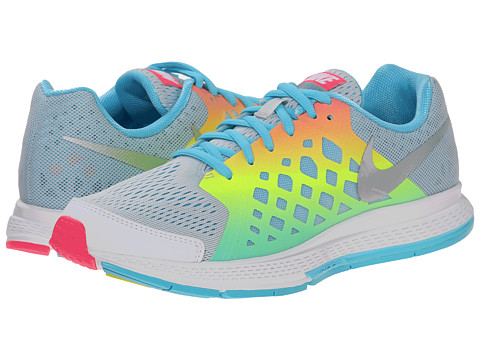 Nike Kids - Zoom Pegasus+ 31 (Little Kid/Big Kid) (Pure Platinum/Blue Lagoon/Volt/Metallic Silver) Girls Shoes