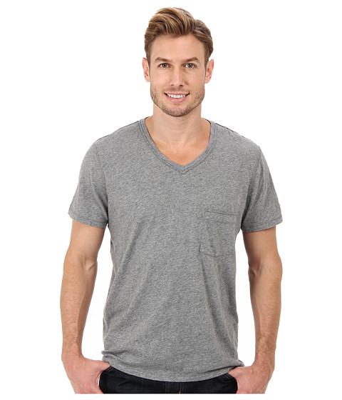7 For All Mankind - S/S Raw V-Neck Tee (Heather Grey) Men's Short Sleeve Pullover