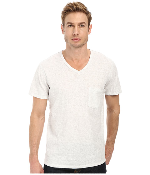 7 For All Mankind - S/S Raw V-Neck Tee (Heather White) Men