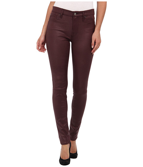 7 For All Mankind - Crackle Leather-Like Knee Seam Skinny w/ Contour Waistband in Burgundy Crackle (Burgundy Crackle) Women