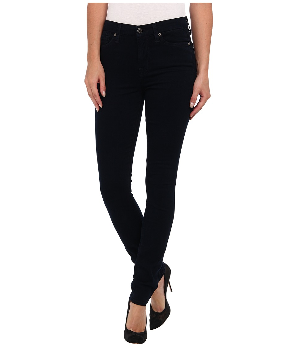 7 For All Mankind - Mid Rise Skinny w/ Contour Waistband in Brushed Sateen (Navy) Women's Jeans